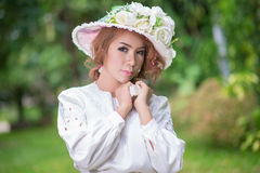 Beautiful lady in vintage outfit Royalty Free Stock Image