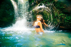 Beautiful Lady By The Waterfall Royalty Free Stock Photos