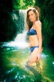 Beautiful Lady By The Waterfall Stock Photo