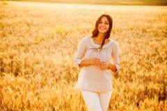 Beautiful lady in wheat field stock image