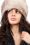 Beautiful lady in winter coat and hat. Beautiful young lady in winter coat and hat isolated on white background Stock Photo