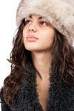 Beautiful lady in winter coat and hat. Beautiful young lady in winter coat and hat isolated on white background Stock Photos