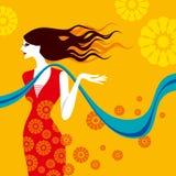 Beautiful lady on yellow background Stock Image