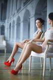 Beautiful Lady. Young elegant lady in front of mirror, soft focus Royalty Free Stock Image
