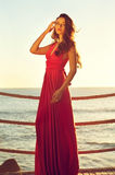 Beautiful lady. Young beautiful elegant woman in pink dress standing near sea Royalty Free Stock Photos