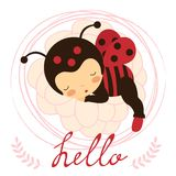 Beautiful ladybug baby card Stock Images