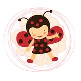 Beautiful ladybug baby card Stock Photos