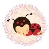 Beautiful ladybug baby card Stock Image