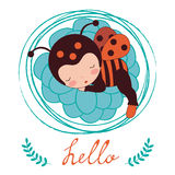 A beautiful ladybug baby card Stock Images