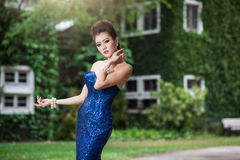 Beautiful ladyin luxury blue dress Royalty Free Stock Images