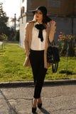 Beautiful ladylike woman wearing elegant fashion clothes Royalty Free Stock Images