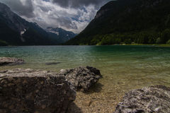 The beautiful Lago del Predil. A view over the beautiful Lago del Predil in Northern Italy Royalty Free Stock Photos