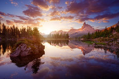 The beautiful Lago Di federa See early in the morning.  royalty free stock image