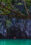 Beautiful lagoon, the beginning of the longest navigable underground ri. Puerto Princesa, Palawan, Philippines - 03 of March 2018 Royalty Free Stock Photo