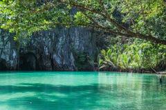 Beautiful lagoon, the beginning of the longest navigable underground river in the world.  Puerto Princesa, Palawan, Philippines. Beautiful lagoon, the beginning Royalty Free Stock Photography