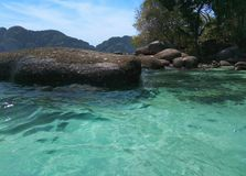Beautiful lagoon, green sea clear water and stones. Thailand, Phi Phi islands Stock Photo