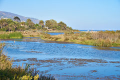 Beautiful Lagoon in Malibu at sunset. Malibu Lagoon State Beach Royalty Free Stock Image