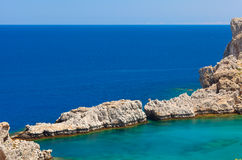 Beautiful lagoon with pure blue water. Rhodes Island Royalty Free Stock Photography