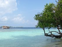 Lagoon and traditional boat in the Indian Ocean island, Maldives Royalty Free Stock Images