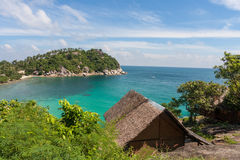 Beautiful lagoon at the tropical island of Phangan, Thailand, Bungalow above the beach. Haad Tien Royalty Free Stock Photography