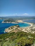 Beautiful lagoon of Voidokilia from a high point of view stock images