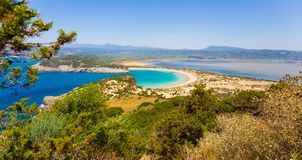 Beautiful lagoon of Voidokilia from a high point of view stock photos