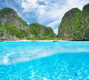 Beautiful lagoon with white sand bottom Stock Image
