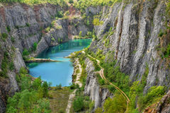 Lake in Abyss. A deep abyss, with limestone cliffs. Protected Landscape Area - Bohemian Karst. Czech Republic stock photo