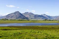 Beautiful lake against mountain background, Iceland, good summer Royalty Free Stock Image