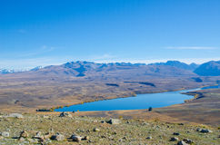 Beautiful Lake Alexandrina view from the summit of Mount John Royalty Free Stock Photography