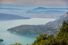 Beautiful Lake Annecy in France surrounded by the Alps stock photos