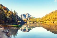 Beautiful lake in Austrian Alps. Beautiful Vorderer Langbathsee lake in Austrian Alps. Autumn landscape Stock Image