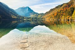 Beautiful lake in Austrian Alps. Beautiful Vorderer Langbathsee lake in Austrian Alps. Autumn landscape Royalty Free Stock Photography