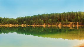 Beautiful lake with azure water in the forest Royalty Free Stock Photography