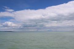 Beautiful Lake Balaton with white clouds. View from Szantod stock photos