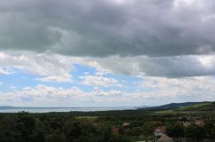 Beautiful Lake Balaton with white clouds. View from Dorgicse, Hugnary stock photos