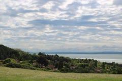 Beautiful Lake Balaton with white clouds. View from Badacsonyors, Hungary stock photos