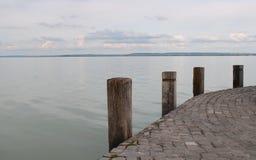 Beautiful Lake Balaton with white clouds. View from Badacsony, Hungary royalty free stock photos
