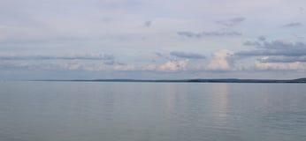 Beautiful Lake Balaton with white clouds. View from Badacsony, Hungary stock images
