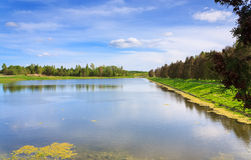 Beautiful lake and blue sky landscape Royalty Free Stock Photography