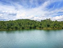 Beautiful lake with blue sky landscape. North of Thailand Stock Image