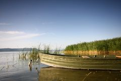 Beautiful lake with boat Stock Image