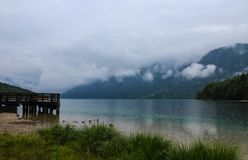 Beautiful Lake Bohinj with clouds Royalty Free Stock Photos