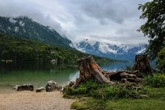 Beautiful Lake Bohinj with clouds Royalty Free Stock Photo