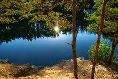 Beautiful lake at the bottom of the canyon at sunset. royalty free stock photos