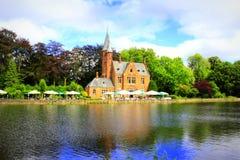 Beautiful lake castle scenery Bruges Belgium Royalty Free Stock Photos