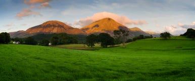 Sunset in the Lake District panorama. Beautiful Lake District panorama England royalty free stock image