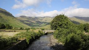 Beautiful Lake District river Mickleden Beck Langdale Valley by Old Dungeon Ghyll Cumbria England United Kingdom UK Royalty Free Stock Image