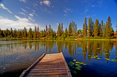 Beautiful Lake and Dock. This is a picture of a beautiful lake with a dock in the middle of summer Royalty Free Stock Photo