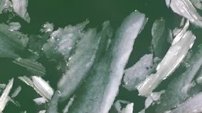 Beautiful lake with floes. Top view stock footage